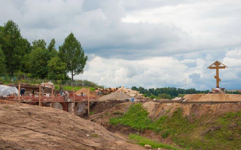 Construction de la nouvelle église photographie stock libre de droits