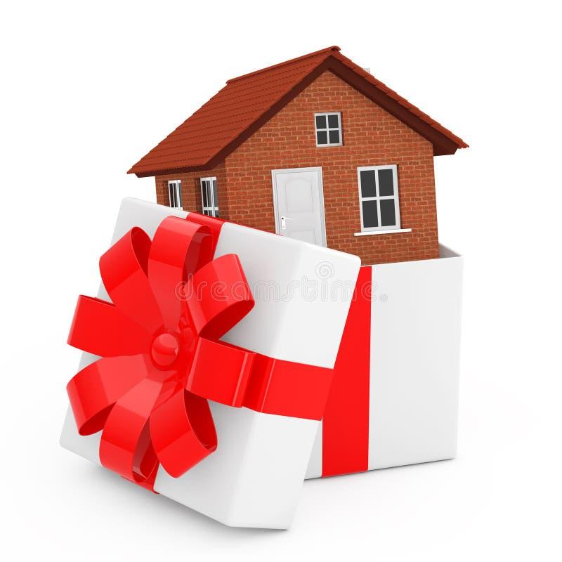 Construction de logements dans le boîte-cadeau avec le ruban et l'arc rouges rendu 3d illustration de vecteur