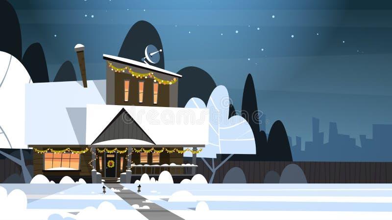 Construction de logements de paysage d'hiver de village avec la neige sur la rue supérieure de banlieue de ville ou de ville la n illustration de vecteur