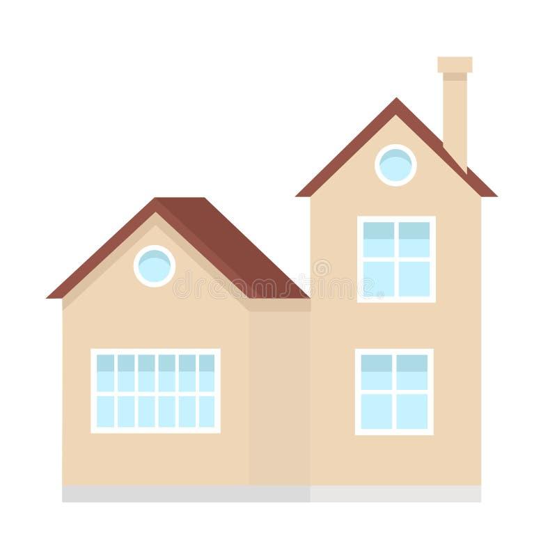 Construction de logements résidentielle, maison privée suburbaine, élément de conception d'illustration urbaine ou rurale de vect illustration libre de droits