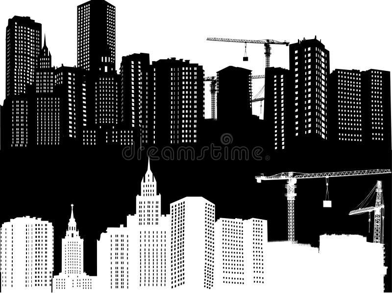Construction de maison blanche et noire illustration libre de droits