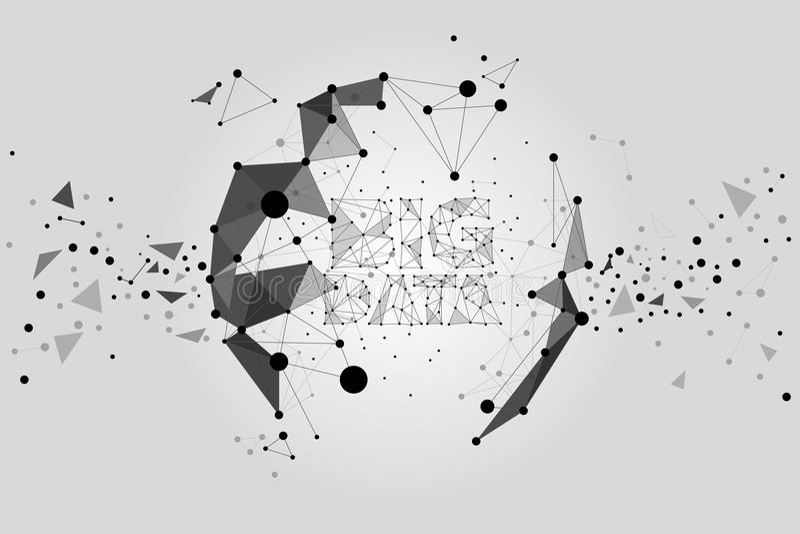 Construction de particules de polygone à la sphère : Le concept des données futuristes et grandes, données transforment illustration stock