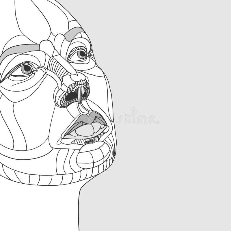 Construction de portrait de femmes de dessin original illustration libre de droits