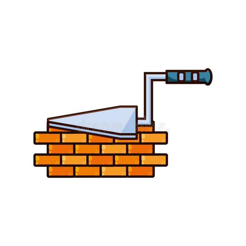 Construction de spatule avec la brique de mur illustration stock