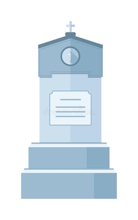 Construction de vecteur de crypte de pierre tombale pour les personnes mortes d'isolement sur le fond blanc illustration stock