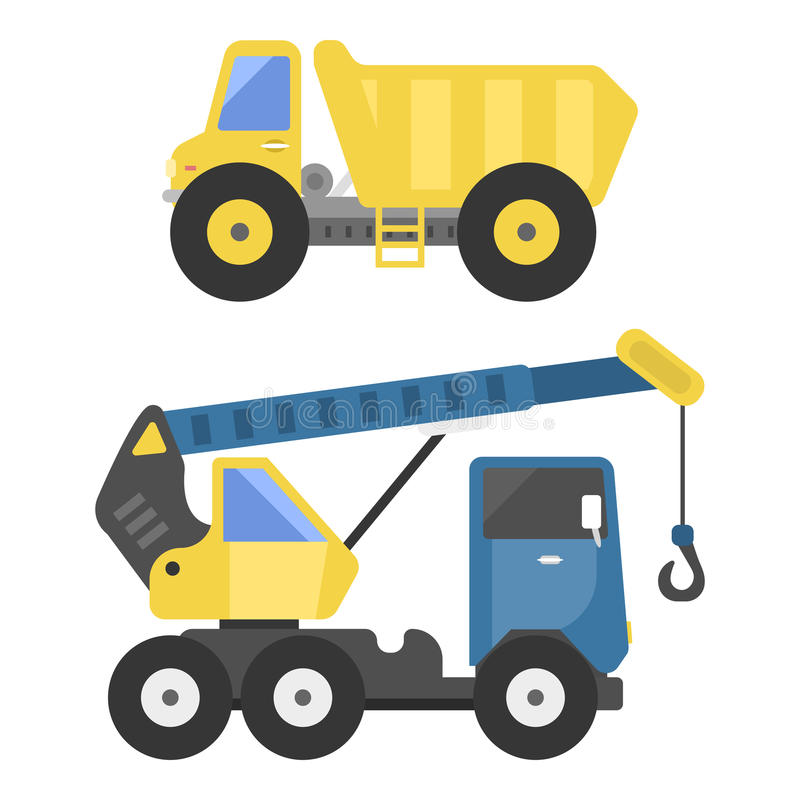 Construction delivery truck transportation vehicle mover road machine equipment vector. Delivery dump truck transportation construction vehicle and road machine stock illustration
