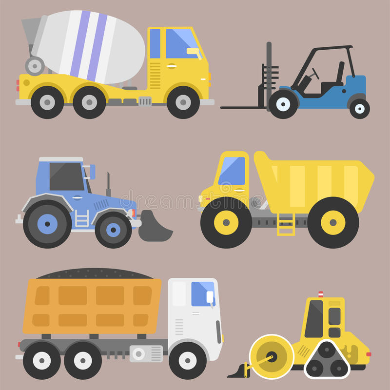Construction delivery truck transportation vehicle mover road machine equipment vector. Delivery truck transportation construction vehicle and road machine stock illustration