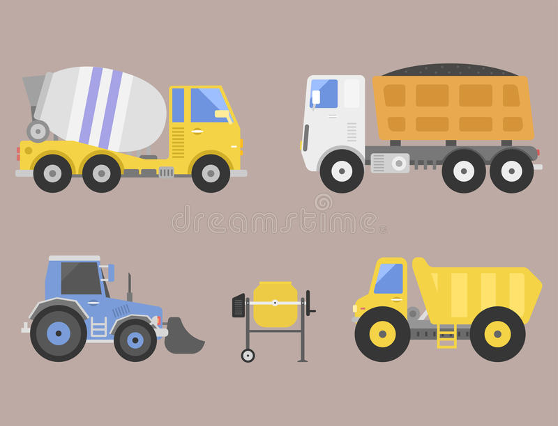 Construction delivery truck transportation vehicle mover road machine equipment vector. Delivery truck transportation construction vehicle and road machine royalty free illustration