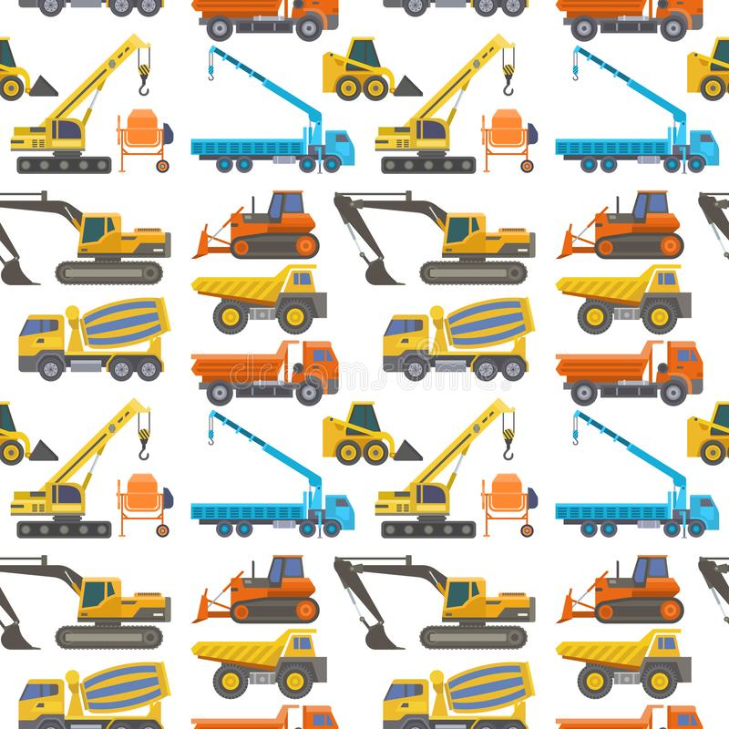 Construction delivery truck vector transportation vehicle construct and road trucking machine equipment large platform. Construction delivery truck vector stock illustration