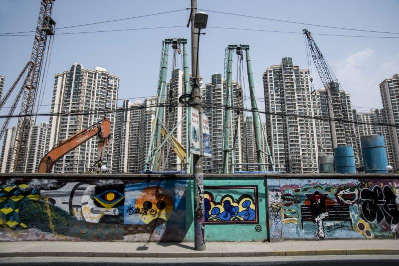 Construction des bâtiments, Changhaï moderne images libres de droits