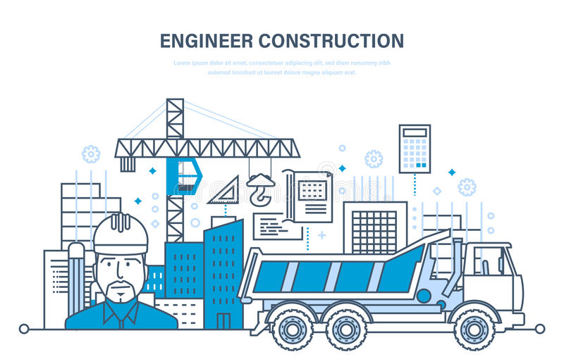 Construction des maisons, bâtiments, chantiers de construction, agent de maîtrise de travail d'ingénieur illustration libre de droits