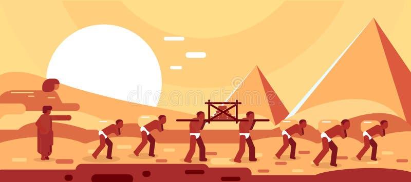 Construction des pyramides ?gyptiennes Blocs de mouvement d'esclaves pour la construction Illustration de vecteur illustration stock