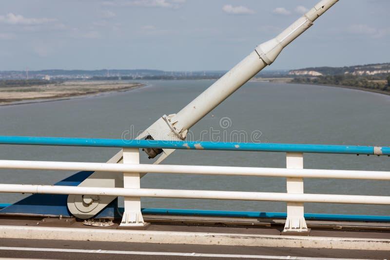 Construction detail of cable foundation Pont de Normandie, Franc stock photo