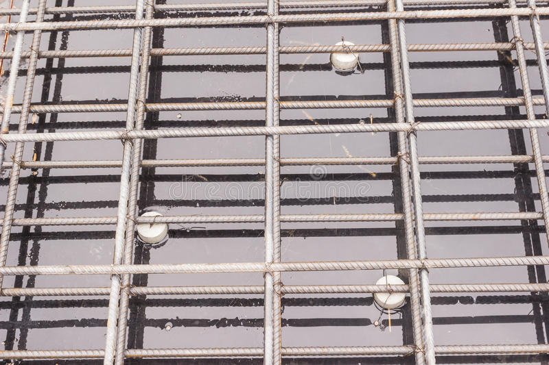 Construction details: reinforcement bar of slab before pouring concrete royalty free stock images