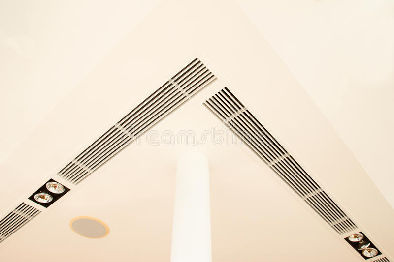 Construction details of round pillar lighting fixtures air grille complicated plastered board ceiling and speaker stock photography