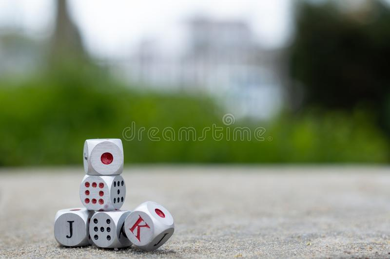 Construction of dice stock image