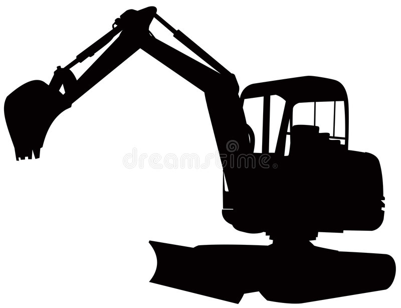 Construction digger excavator. Vector art of a construction mechanical digger on white background vector illustration