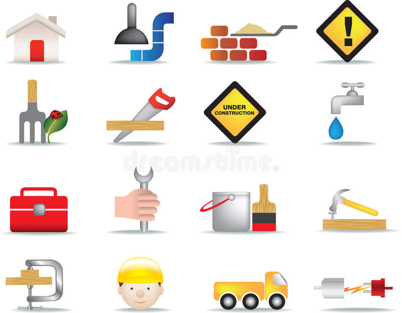 Construction and diy icon set vector illustration