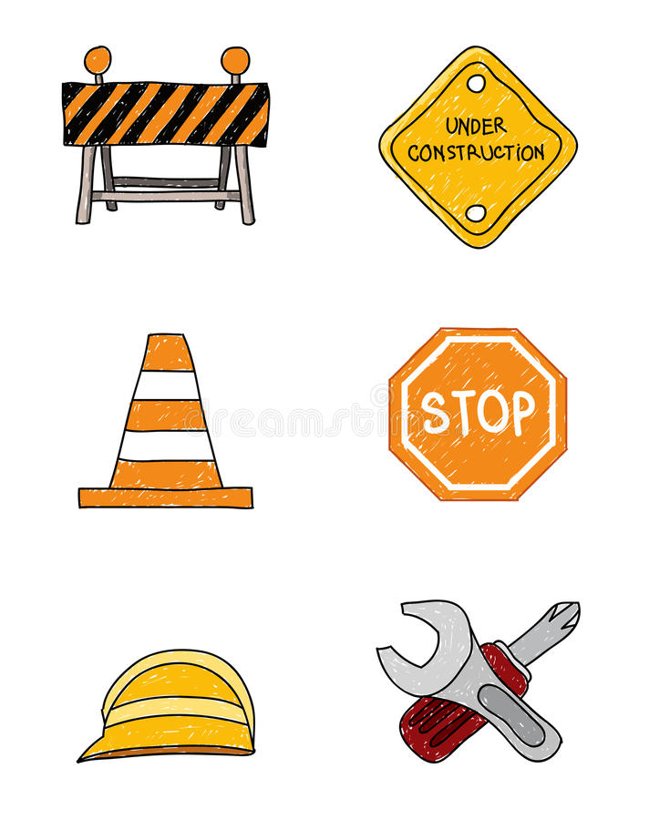 Construction Doodle Signs. Vector doodles of construction theme signs vector illustration