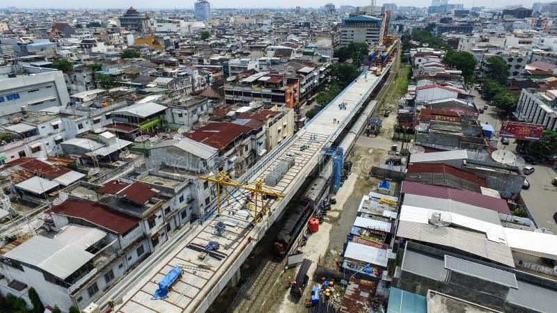Construction of double track railway. Progress of construction of Medan railway railway line in Thamrin, Medan, North Sumatra. The construction of the railway stock image