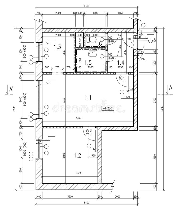 Construction drawing royalty free illustration