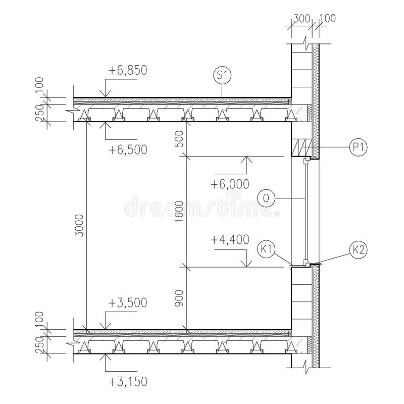 Construction Drawing Window Detail Stock Illustration