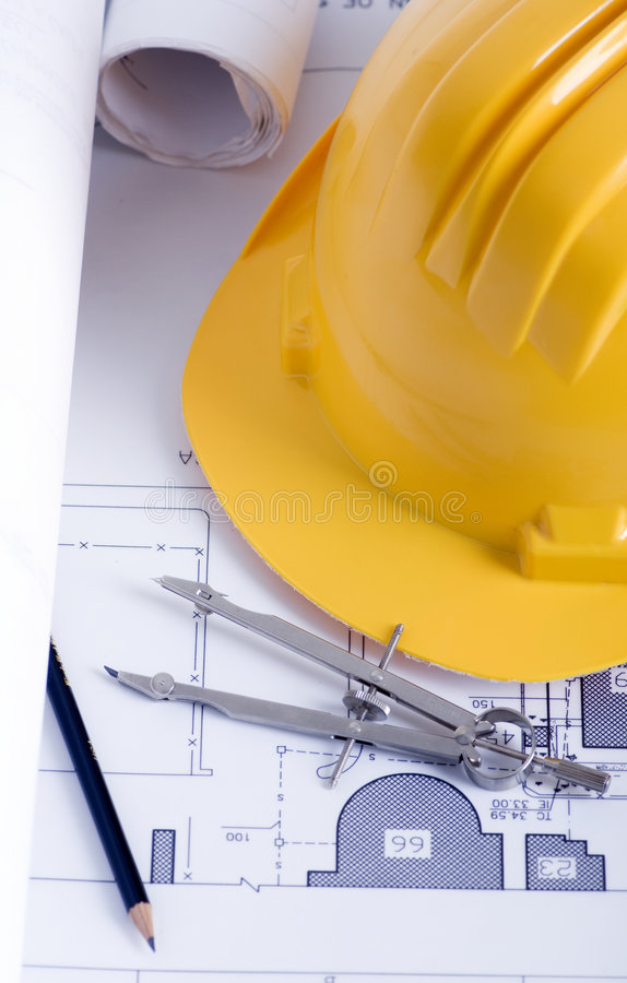 Construction drawings royalty free stock photography