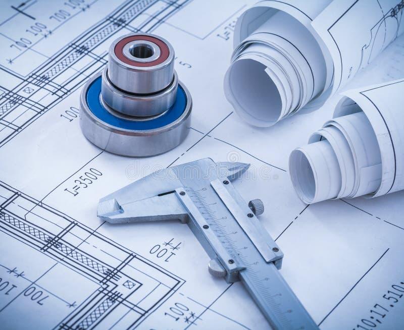 Construction drawings slide caliper roller stock photos