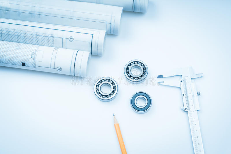 Construction drawings slide caliper roller bearings on blueprint architecture and building concept. stock photo