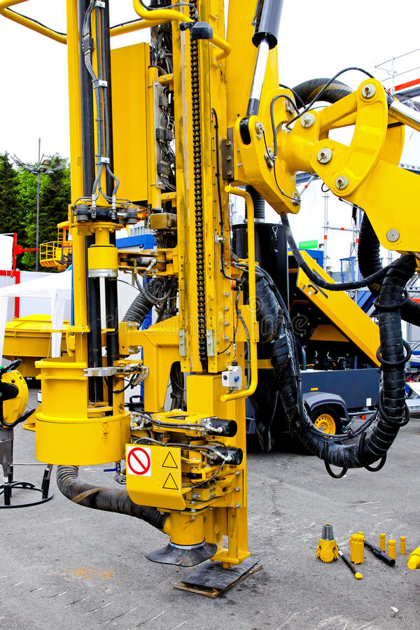 Construction drill. Close up shot of construction drill machine stock image