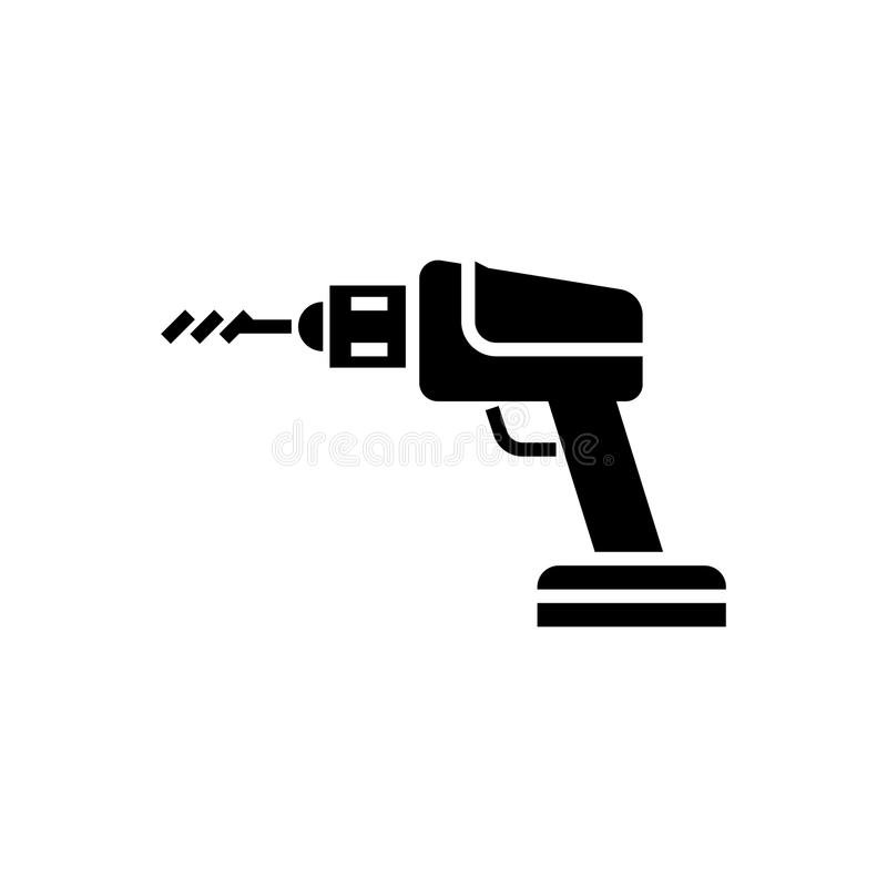 Construction drilling machine icon, vector illustration, black sign on isolated background stock illustration