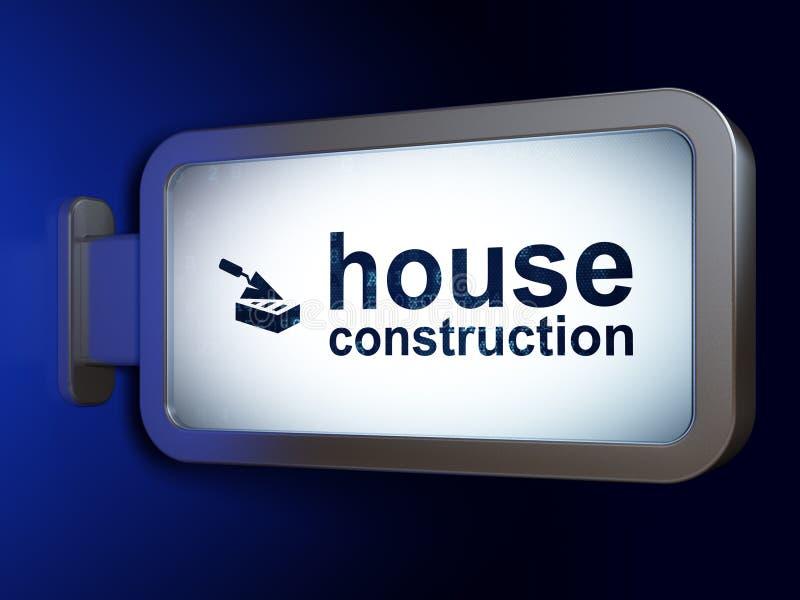 Construction du concept : Construction et mur de briques de Chambre sur le fond de panneau d'affichage illustration stock