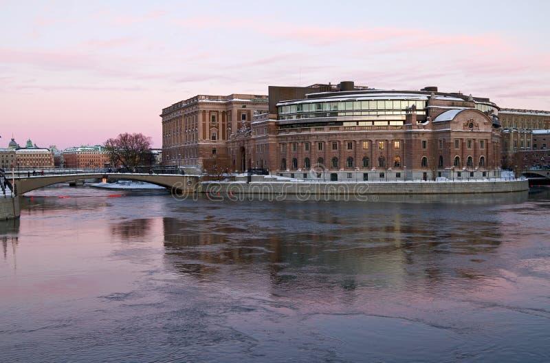 Construction du Parlement à Stockholm. image libre de droits