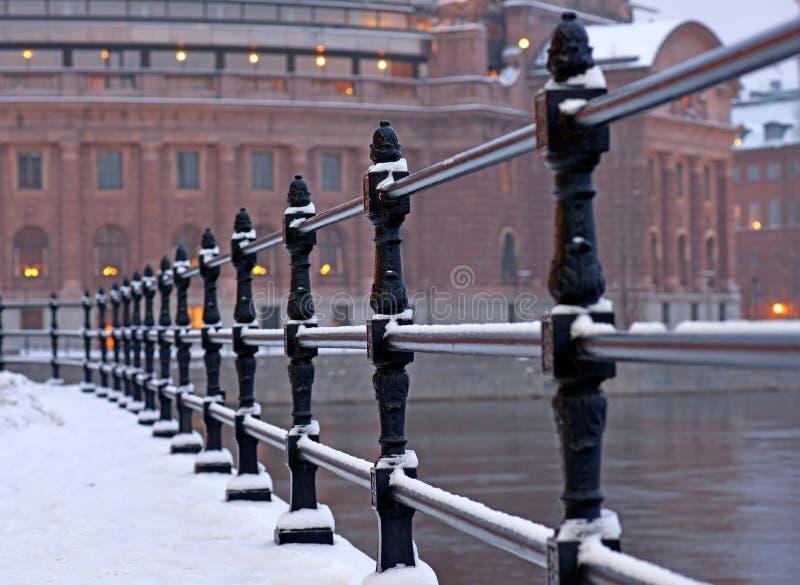 Construction du parlement de Stockholm en hiver photos libres de droits