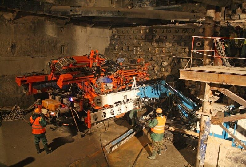 Construction du tunnel, plate-forme de forage pour le jointoiement de jet image libre de droits