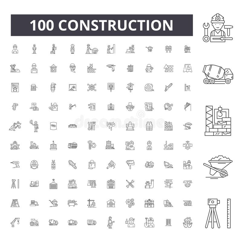 Construction editable line icons, 100 vector set, collection. Construction black outline illustrations, signs, symbols stock illustration