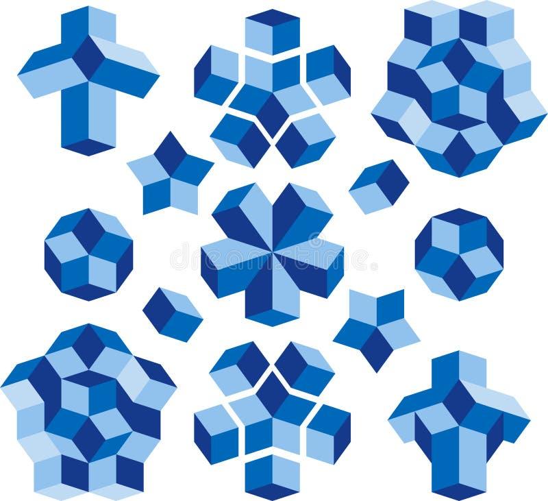 Construction Elements. Escher Cube vector signs for construction business vector illustration