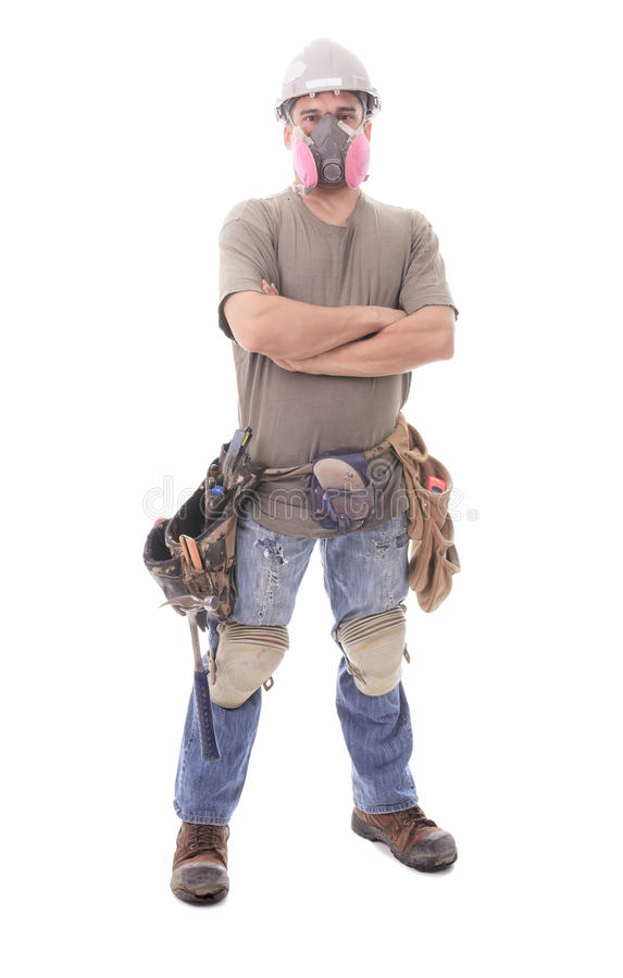Construction employee, a man over white background stock photography