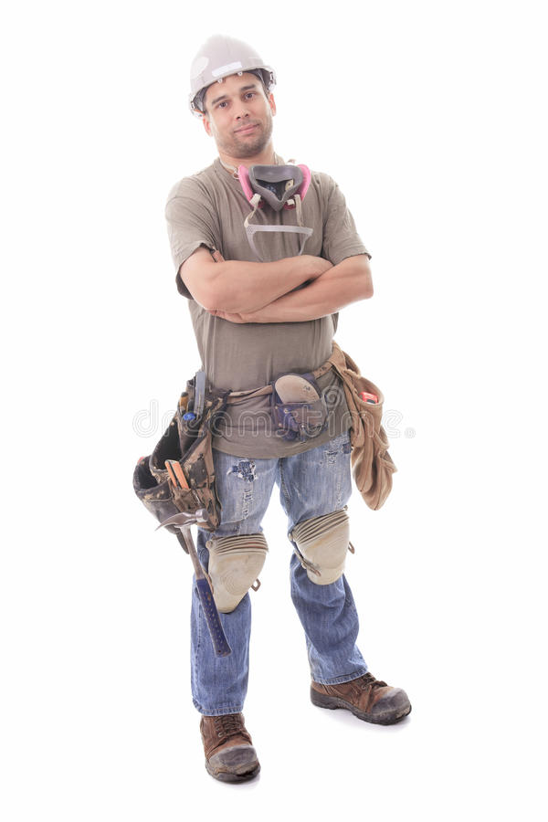 Construction employee, a man over white background stock photo