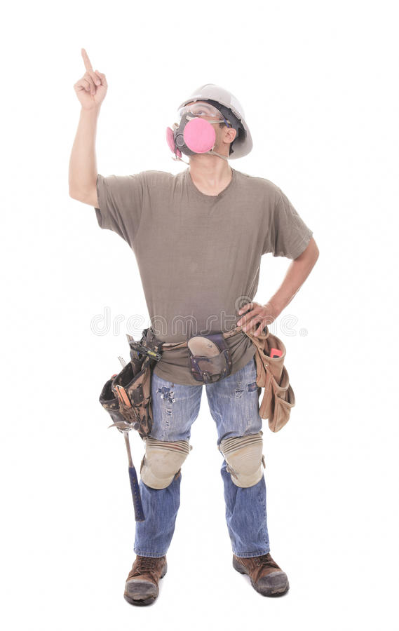 Construction employee, a man over white background royalty free stock photography