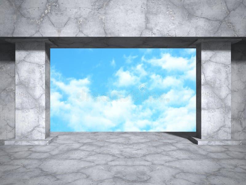 Construction en béton d'architecture sur le fond de ciel nuageux illustration de vecteur