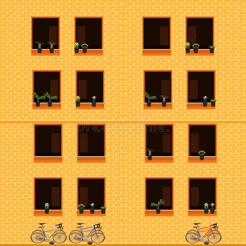 Construction en dehors de l'illustration eps10 de vecteur de bicyclette de fleur de fenêtre de vue illustration libre de droits