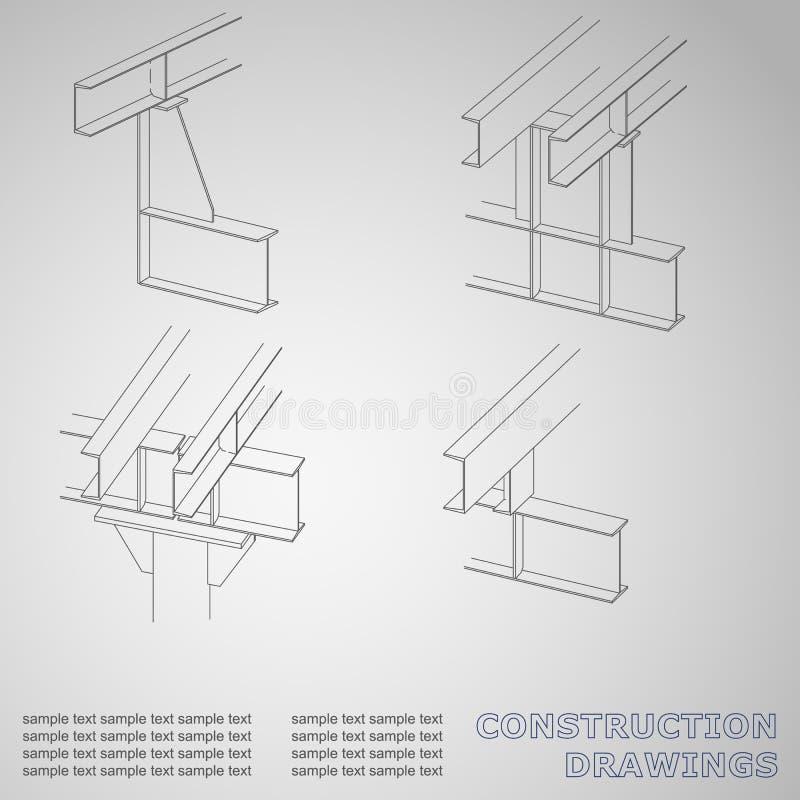 construction en métal 3D Les faisceaux et les colonnes illustration de vecteur