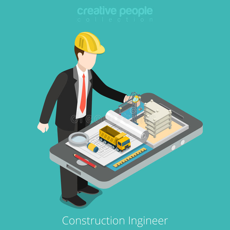 Construction engineer, architect. Male worker over stock illustration