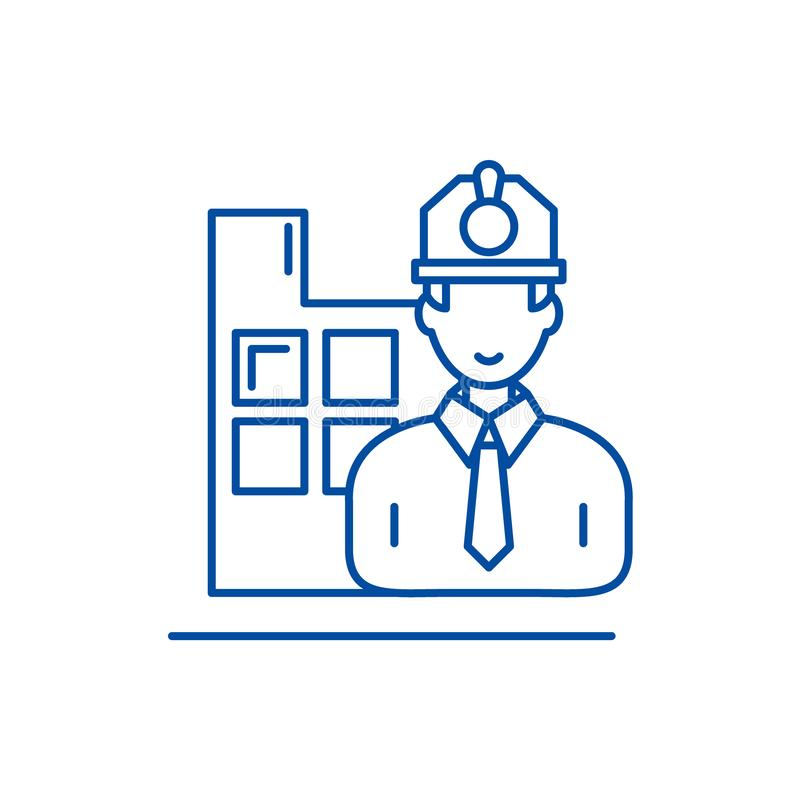 Construction engineer line icon concept. Construction engineer flat  vector symbol, sign, outline illustration. vector illustration