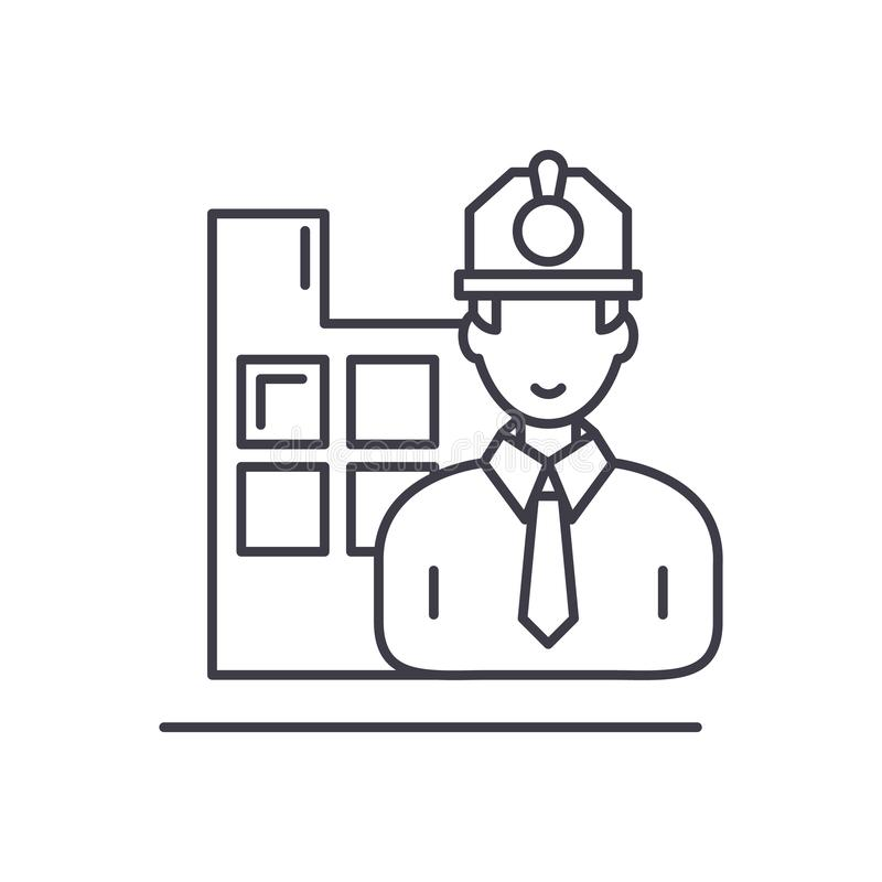 Construction engineer line icon concept. Construction engineer vector linear illustration, symbol, sign royalty free illustration