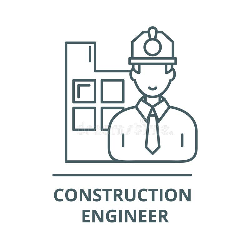 Construction engineer line icon, vector. Construction engineer outline sign, concept symbol, flat illustration royalty free illustration
