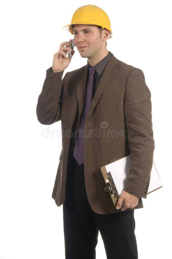 Construction engineer on the phone royalty free stock photography