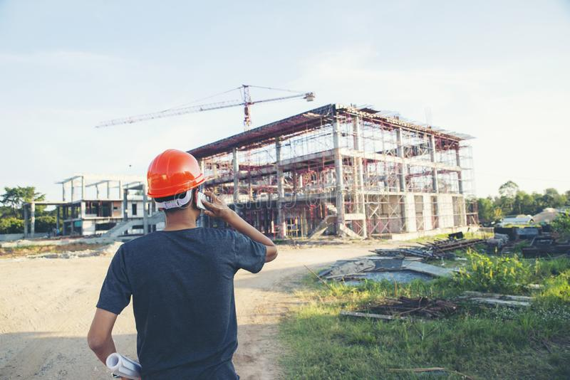 Construction Engineer and safety & health Officer stock image