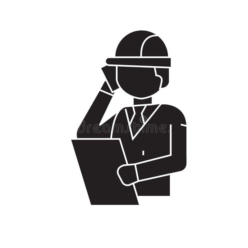 Construction engineer talk black vector concept icon. Construction engineer talk flat illustration, sign vector illustration